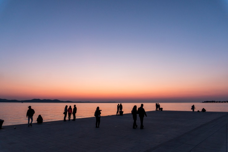 people on zadar promenade